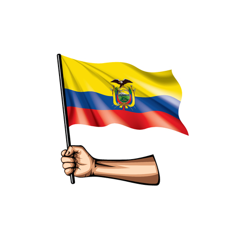 Ecuador flag and hand on white background. Vector illustration.