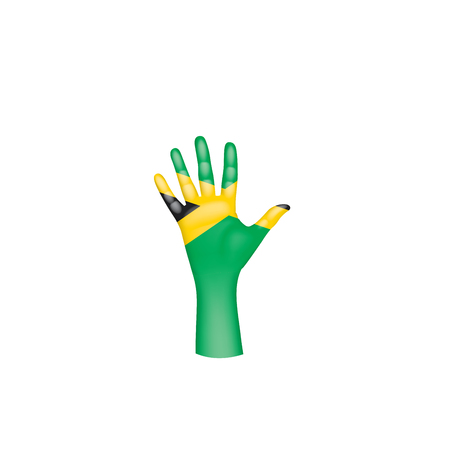 Jamaica flag and hand on white background. Vector illustration.