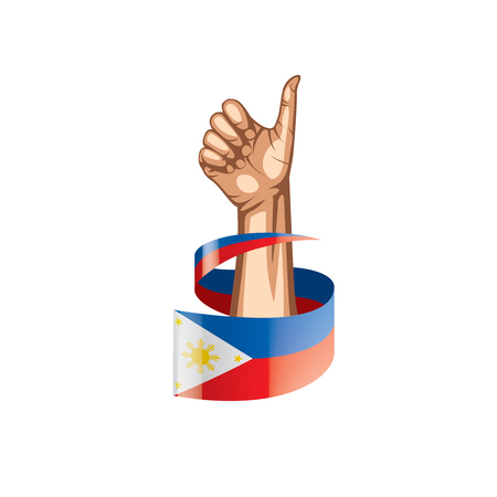 Philippines flag and hand on white background. Vector illustration.