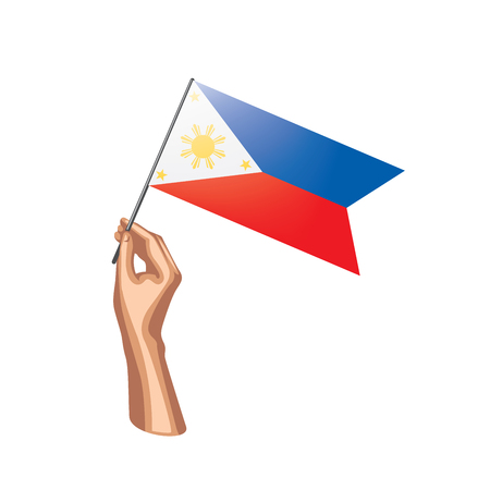Philippines flag and hand on white background. Vector illustration.  イラスト・ベクター素材
