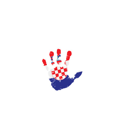 Croatia flag and hand on white background. Vector illustration.