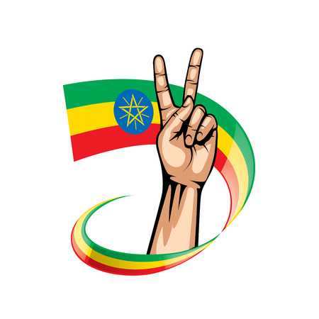 Ethiopia flag and hand on white background. Vector illustration.