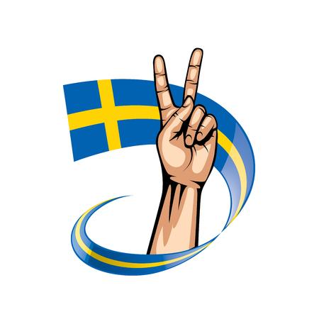 Sweden flag and hand on white background. Vector illustration.