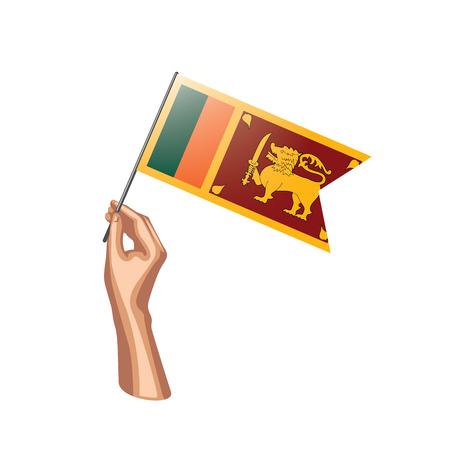Sri Lanka flag and hand on white background. Vector illustration.