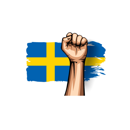 Sweden flag and hand on white background. Vector illustration.