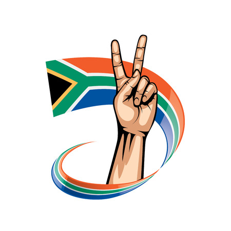 south africa flag and hand on white background. Vector illustration.