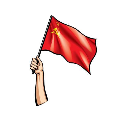 Red flag and hand on white background. Vector illustration Vektoros illusztráció