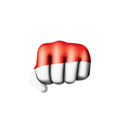 Indonesia flag and hand on white background. Vector illustration