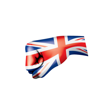 United Kingdom flag and hand on white background. Vector illustration.