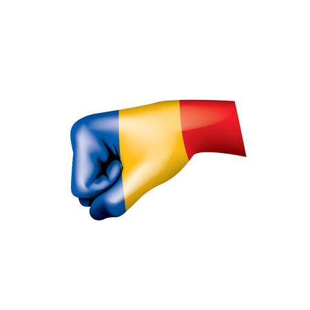 Chad flag and hand on white background. Vector illustration.
