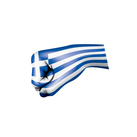 Greece flag and hand on white background. Vector illustration. Çizim