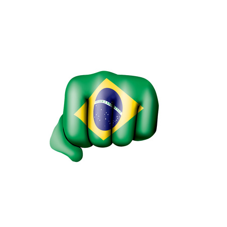 Brazil flag and hand on white background. Vector illustration.
