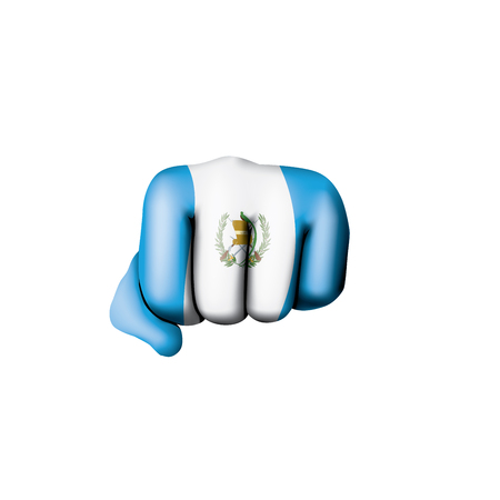 Guatemala flag and hand on white background. Vector illustration.