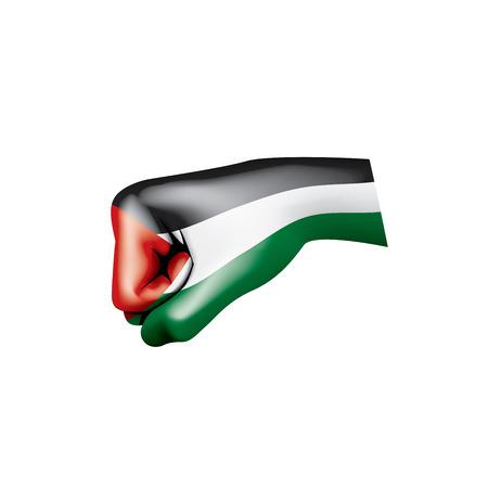 Palestine flag and hand on white background. Vector illustration. Illusztráció