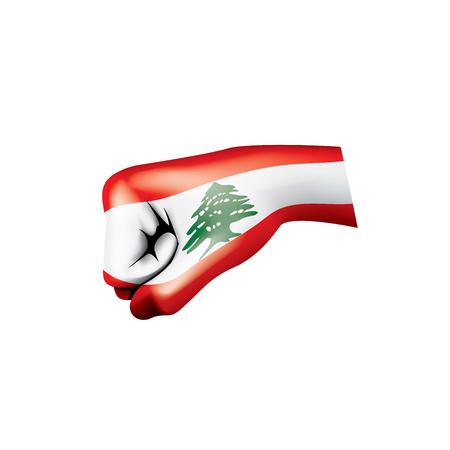 Lebanese flag and hand on white background. Vector illustration. Illustration