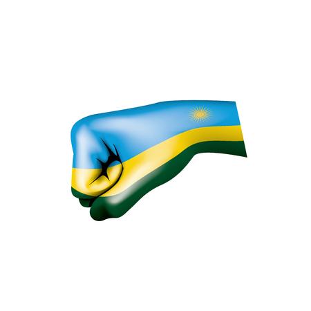 Rwanda flag and hand on white background. Vector illustration. Illustration