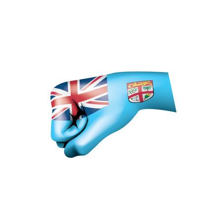 Bandiera delle Figi e mano su sfondo bianco. Illustrazione vettoriale.