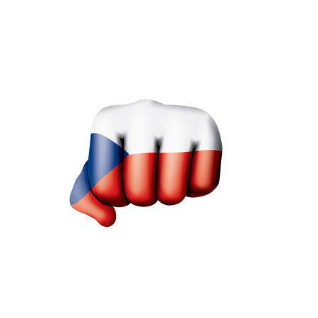 Czechia flag and hand on white background. Vector illustration.