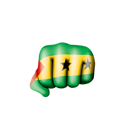 Sao Tome and Principe flag and hand on white background. Vector illustration.