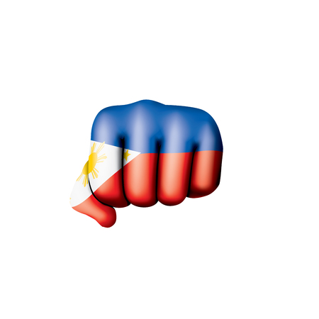 Philippines flag and hand on white background. Vector illustration. Illusztráció