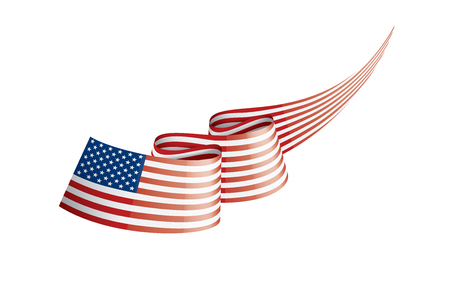 USA flag, vector illustration on a white background. Ilustração