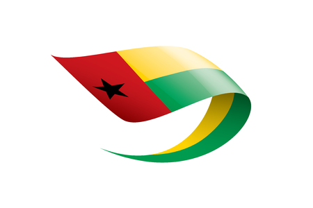 Guinea Bissau national flag, vector illustration on a white background Vetores
