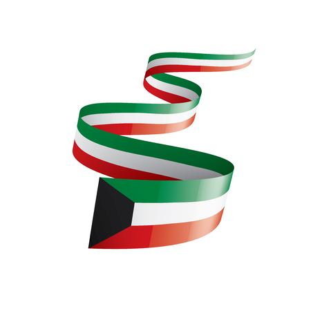 Kuwait national flag, vector illustration on a white background