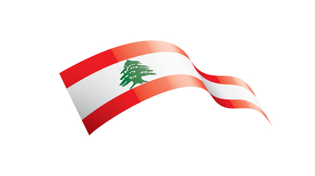 Lebanese national flag, vector illustration on a white background Illustration