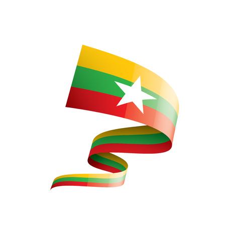 Drapeau national du Myanmar, illustration vectorielle sur fond blanc Vecteurs
