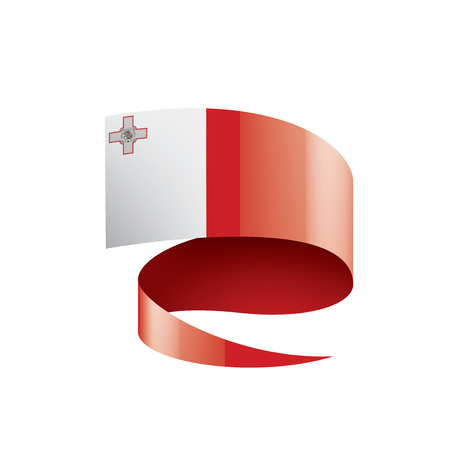 Malta national flag, vector illustration on a white background