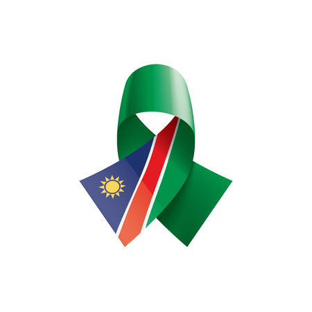 Namibia national flag, vector illustration on a white background