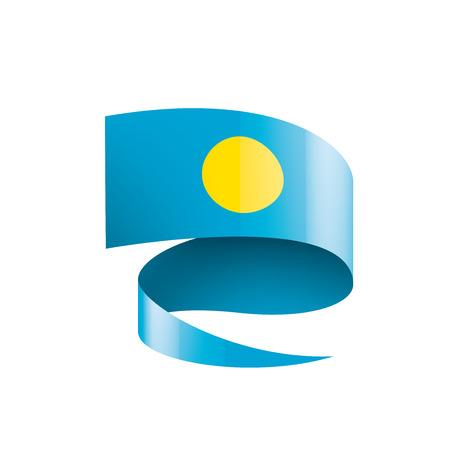 Bandera de Palau, ilustración vectorial sobre un fondo blanco