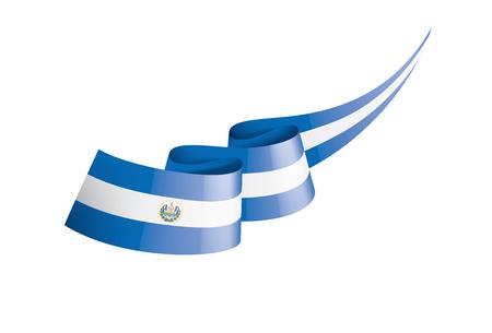 Salvador national flag, vector illustration on a white background Ilustracje wektorowe