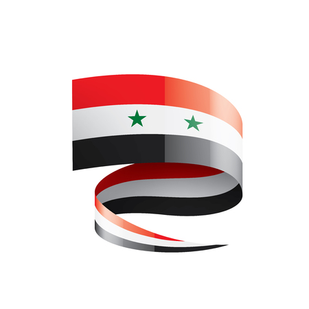 Syria flag, vector illustration on a white background Stock Illustratie