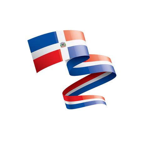 Bandera nacional dominicana, ilustración vectorial sobre un fondo blanco.