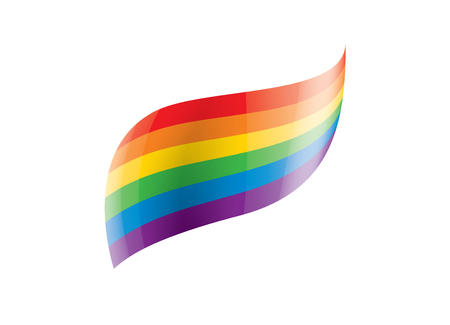 Vector a rainbow flag waving on white background