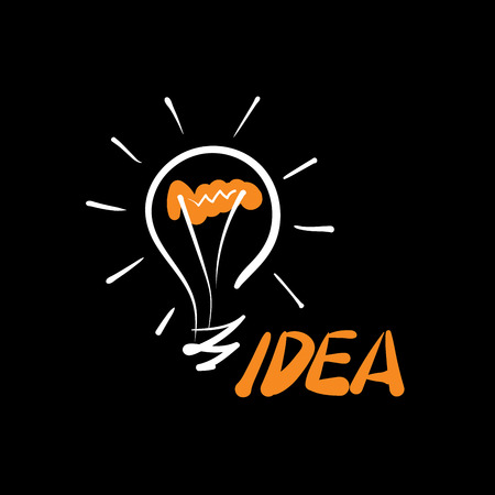 Icon of light bulb with concept ideas. Vector illustration