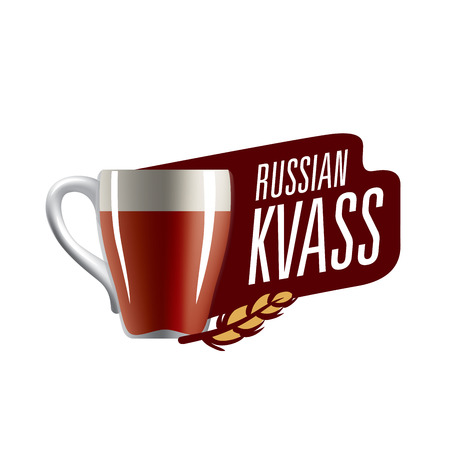 Vector illustration of a mug with Russian kvass. Isolated on white background. Ilustrace