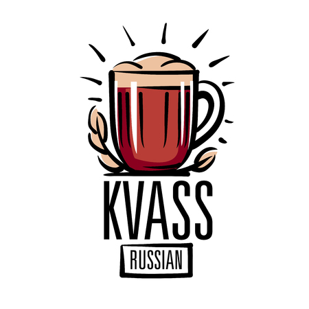 Vector illustration of a mug with Russian kvass. Isolated on white background. 向量圖像