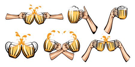 vector illustration of light beer mug in hand, isolated on white background