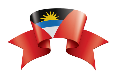 Antigua and Barbuda flag, vector illustration on a white background.