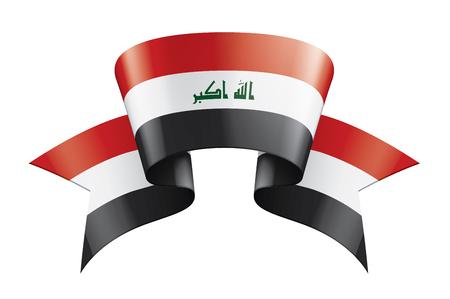 Iraqi flag, vector illustration on a white background Ilustração