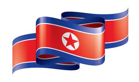 Bandera nacional de Corea del Norte, ilustración vectorial sobre un fondo blanco. Ilustración de vector