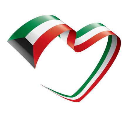 Drapeau national du Koweït, illustration vectorielle sur fond blanc