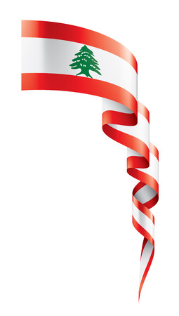 Lebanese national flag, vector illustration on a white background Stock Illustratie