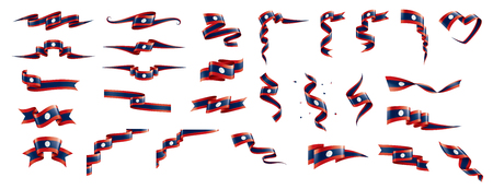 Laos national flag, vector illustration on a white background