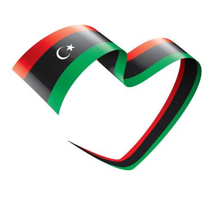 Bandera nacional de Libia, ilustración vectorial sobre un fondo blanco.