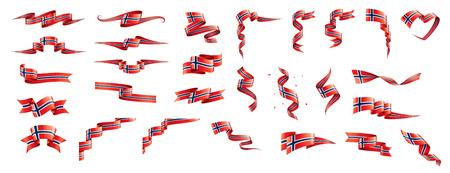 挪威国旗,矢量插图在白色的背景