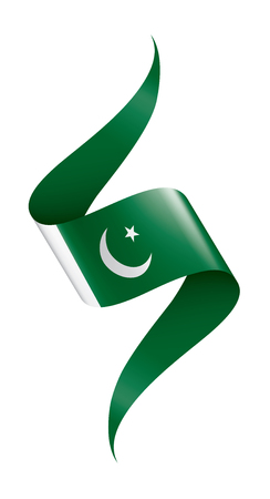 Pakistan flag, vector illustration on a white background Ilustração