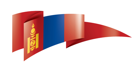 Mongolia national flag, vector illustration on a white background